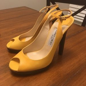 authentic Jimmy Choo yellow stilettos never worn!